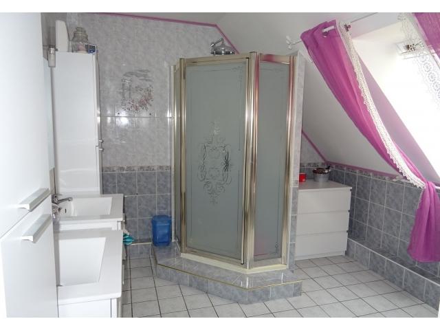 salle de bain-meublée équipée-douche-baignoire-lavabo-