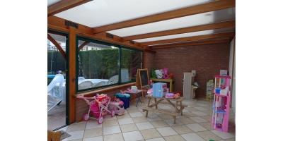 veranda-doubles vitrage-chauffage gaz-sous-sol-garage